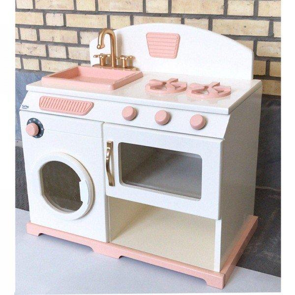 آشپزخانه چوبی سرهمی سفید صورتی
