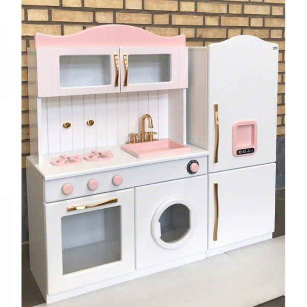 آشپزخانه چوبی مدل آوا رنگ سفید صورتی