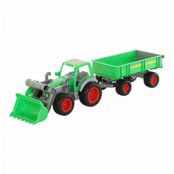 تراکتور سبز با لودر و تریلی polesie مدل 37770