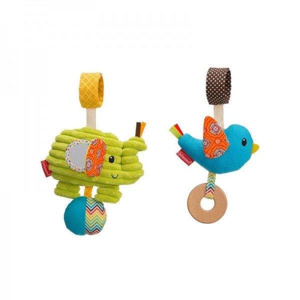 اسباب بازی نوزاد آویز تخت و کریر جغجغه ای دو عددی پرنده و فیل infantino مدل 5139