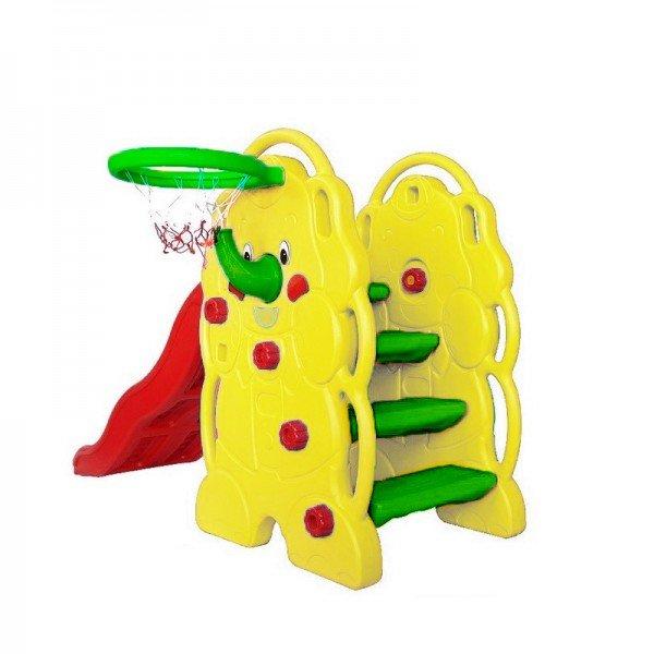 سرسره کودک 3 پله موجدار فیل زرد با حلقه بسکتبال مدل 5030