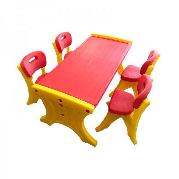 میز کودک مستطیل  6 نفره قرمز مدل 110
