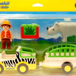 ماشین باغ وحش پلی موبيل مدل safari truck with rhino 6743
