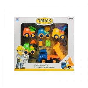 ست ماشین راهسازی 5 عددی با کامیون آبی  مدل 55926