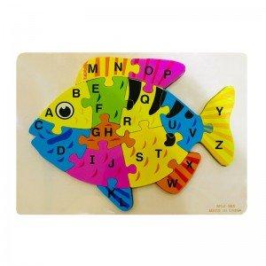پازل چوبی ماهی با حروف انگلیسی