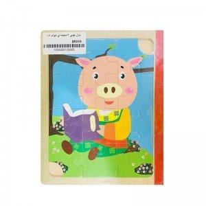 پازل چوبی 6 صفحه ای خوک مدل 008