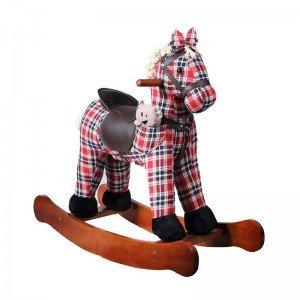 راکر کودک چوبی طرح ویکتور چهارخانه قرمز با عروسک مدل 6015