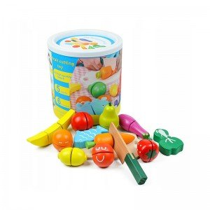 اسباب بازی چوبی میوه های چسبی سطلی مدل 5088  افزایش مهارت های دست ورزی