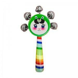 اسباب بازی چوبی جغجغه کودک رنگ سبز دخترانه مدل 7790