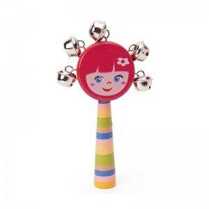 اسباب بازی چوبی جغجغه کودک رنگ قرمز دخترانه مدل 7790