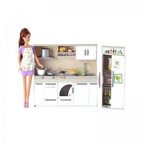 قیمت عروسک دفا با لباس بنفش با آشپزخانه مدل 6085