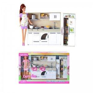 خرید عروسک دفا با لباس بنفش با آشپزخانه مدل 6085