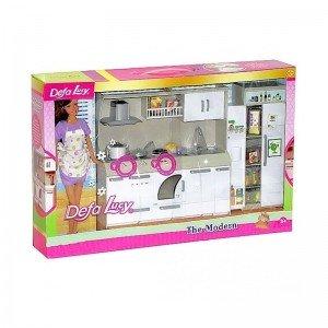 عروسک دفا با لباس بنفش با آشپزخانه مدل 6085