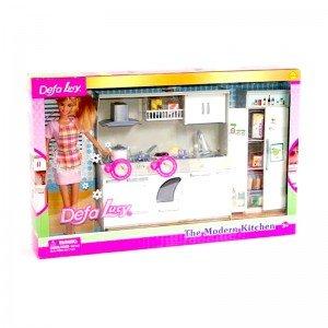 عروسک دفا با لباس صورتی با آشپزخانه مدل 6085