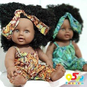 خرید عروسک سیاه پوست با لباس سبز مدل 64114