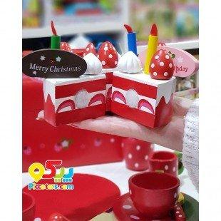 ست کیک تولد چوبی 30 تکه طرح توت فرنگی مدل 279110