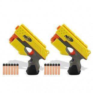 تفنگ اسباب بازی کودک نرف دو عددی زرد مدل 33349