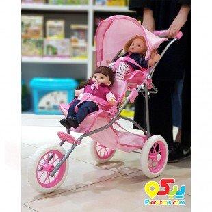 کالسکه عروسک دوقلو سه چرخ مدل 00696