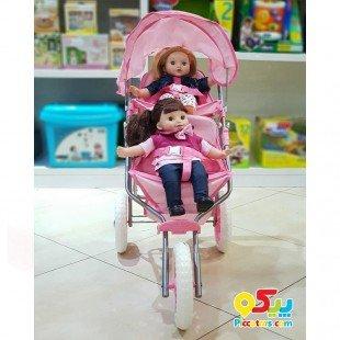 قیمت کالسکه عروسک دوقلو سه چرخ مدل 00696