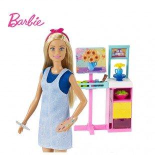 عروسک باربی با میز تحریر و لوازم نقاشی مدل FRL35