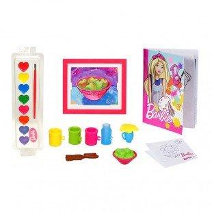 خرید عروسک باربی با میز تحریر و لوازم نقاشی مدل FRL35
