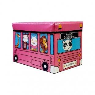 باکس اسباب بازی و صندلی کودک طرح اتوبوس حیوانات مدل 12818