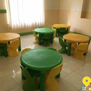 میز کودک پلاستیکی دایره مدل پرتقالی زرد 7022