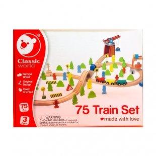 اسباب بازی چوبی  کودک طرح قطار 75 تکه  Classic World مدل 4163