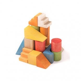 اسباب بازی چوبی بلوک های رنگی 40 تکه با جعبه چوبی مدل 0023