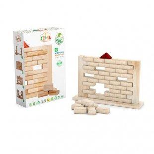 خرید اسباب بازی چوبی بلوک های رنگی 40 تکه با جعبه چوبی مدل 0023