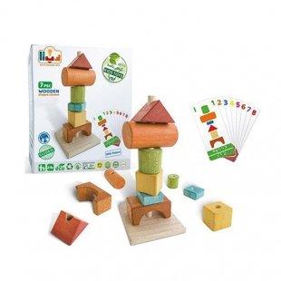 اسباب بازی چوبی بازی فکری ستون اشکال مدل 0108