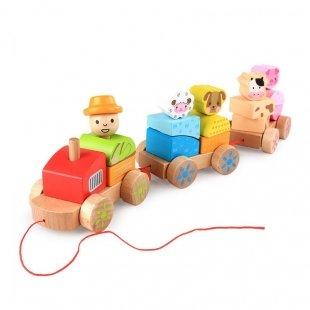 اسباب بازی قطار چوبی 3 واگن حیوانات مدل 1572