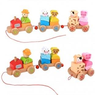 قطار اسباب بازی چوبی