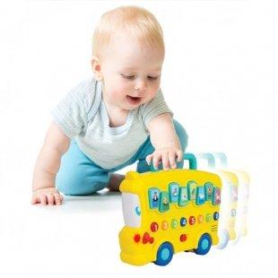 اسباب بازی موزیکال کودک طرح اتوبوس حیوانات winfun 00676