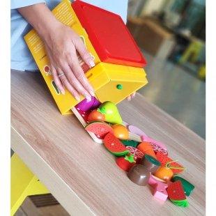 پازل چوبی میوه های مگنتی سطلی مدل LZM001