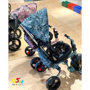 سه چرخه کودک تاشو با سایبان مدل Giovi Kikka Boo رنگ صورتی مدل Giovi