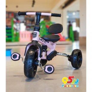 سه چرخه کودک تاشو با سایبان مدل Giovi Kikka Boo رنگ صورتی