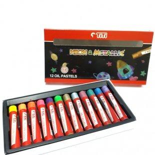 پاستل روغنی نئونی و متالیک 12 رنگ تی تی TiTi کد 120013
