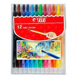 مداد شمعی 12 رنگ پیچی تی تی مدل Twist کد 120012