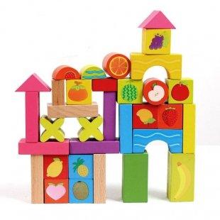 خرید بلوک چوبی خانه سازی 33 تکه مدل میوه