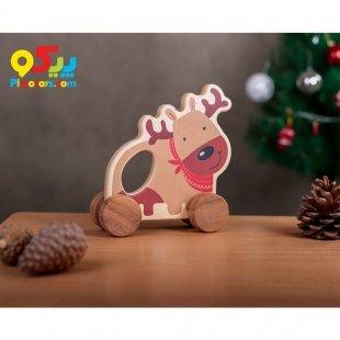اسباب بازی چوبی کودک حیوانات چرخ دار