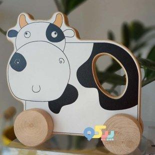 خرید اسباب بازی چوبی حیوانات چرخ دار