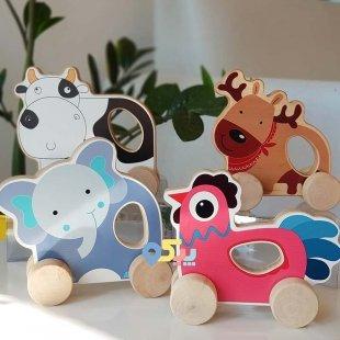 خررید اسباب بازی حیوانات چوبی چرخدار