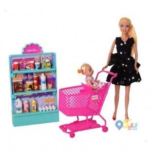 عروسک باربی به همراه سوپرمارکت