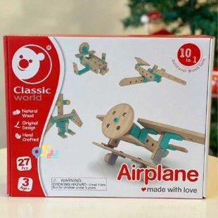 خرید اسباب بازی هواپیما ساختنی چوبی