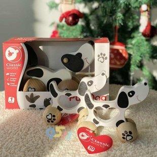 خرید اسباب بازی چوبی سگ چرخدار نخ کش