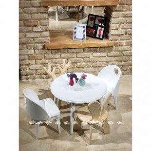 میز و صندلی چوبی سفید کودک