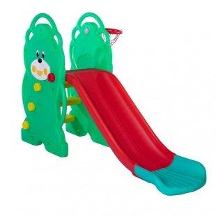 سرسره کودک 3 پله خرس سبز با حلقه بسکتبال