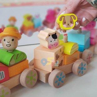 خرید قطار اسباب بازی چوبی