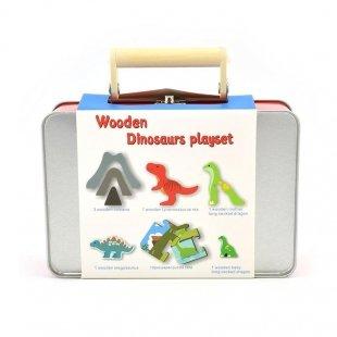 ست بازی دایناسور چوبی پیکاردو با کیف فلزی